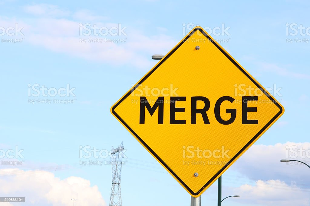 Transportation Highway Signs Merge stock photo