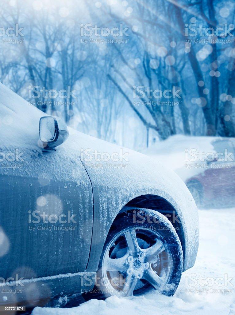 transportation in snow stock photo