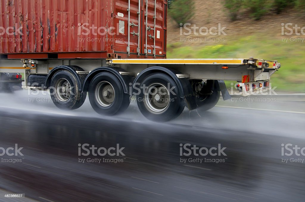 Transportation in the rain royalty-free stock photo
