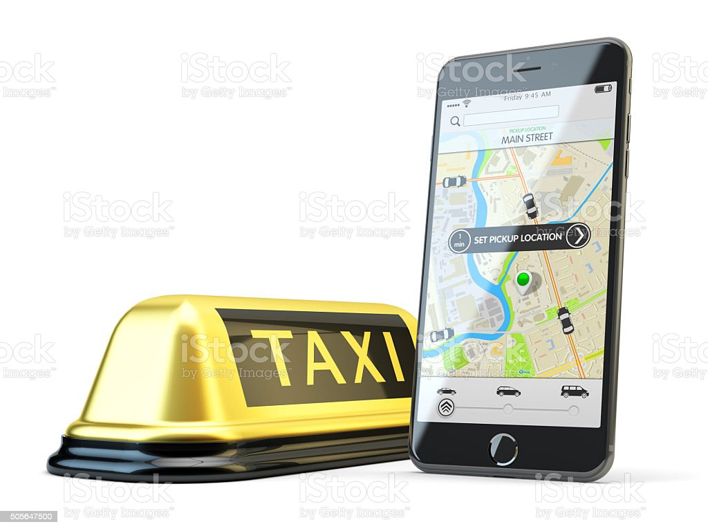 Transportation network app, calling a cab by mobile phone concept stock photo