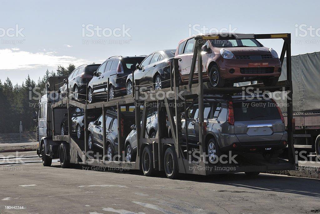 transportation of new cars royalty-free stock photo