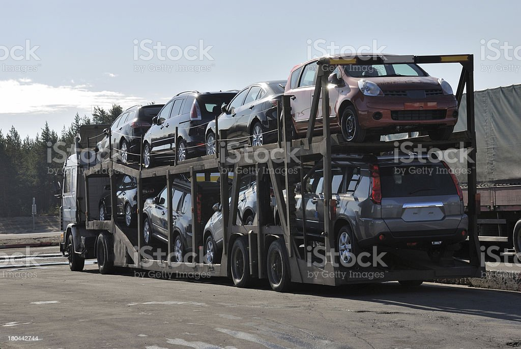 transportation of new cars stock photo