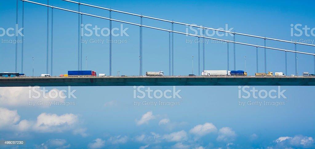 Transportation on the Bosphorus Bridge stock photo