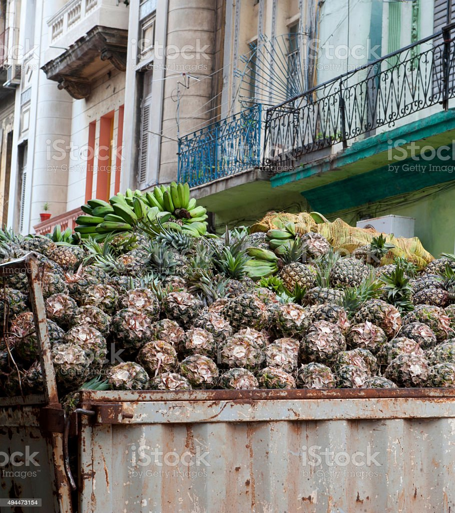Transportation Pineapple in the truck stock photo