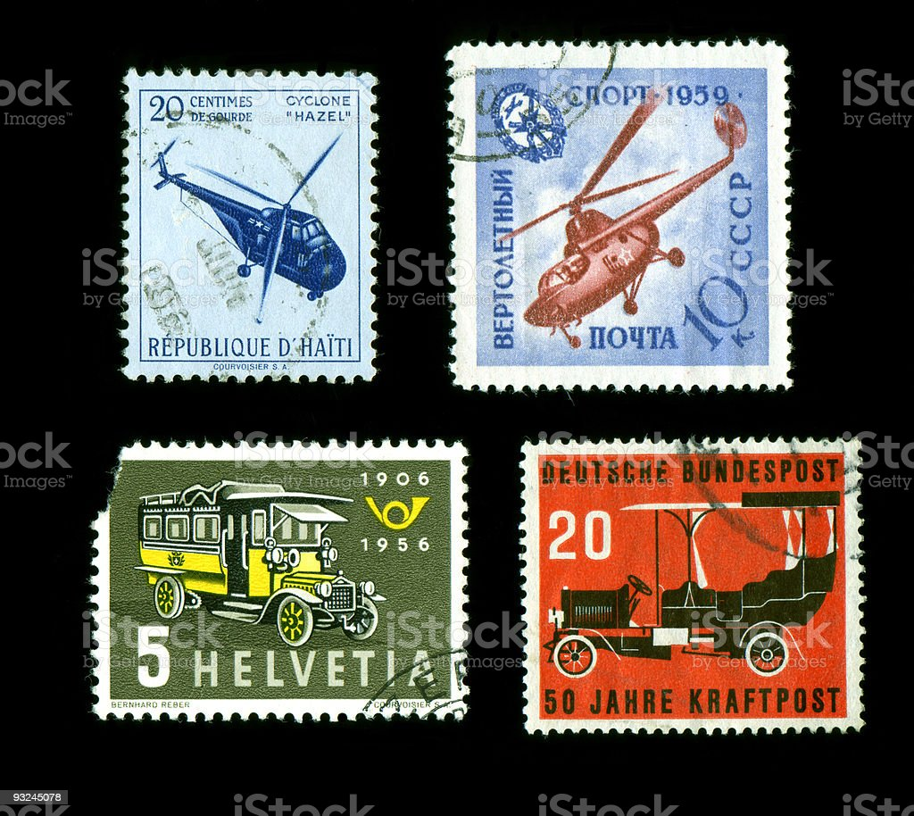 Transportation Postage Stamps World stock photo