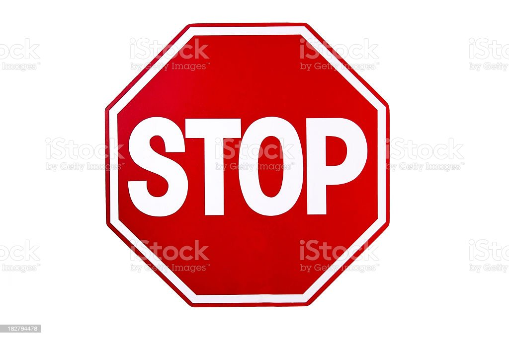 Transportation:  Red Stop sign isolated on white background. royalty-free stock photo