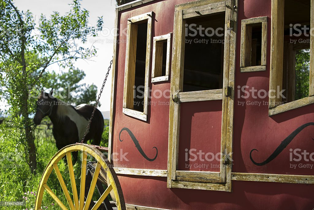 Transportation:  Rustic old stage coach from the Wild West days. stock photo
