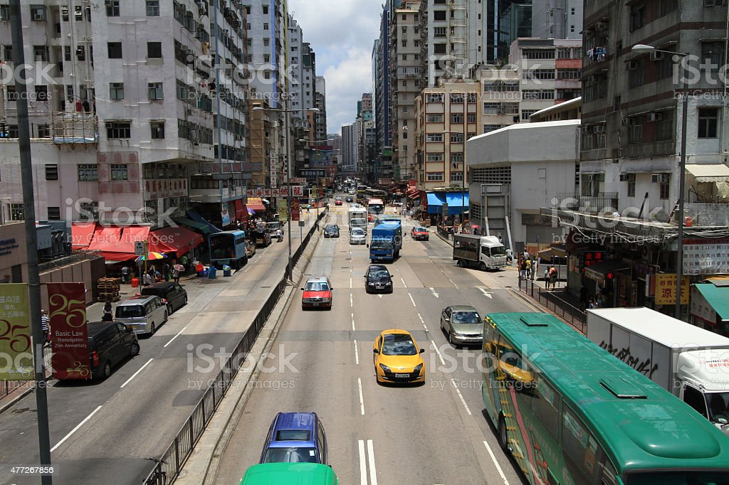 transportation street top view - Mong kok stock photo