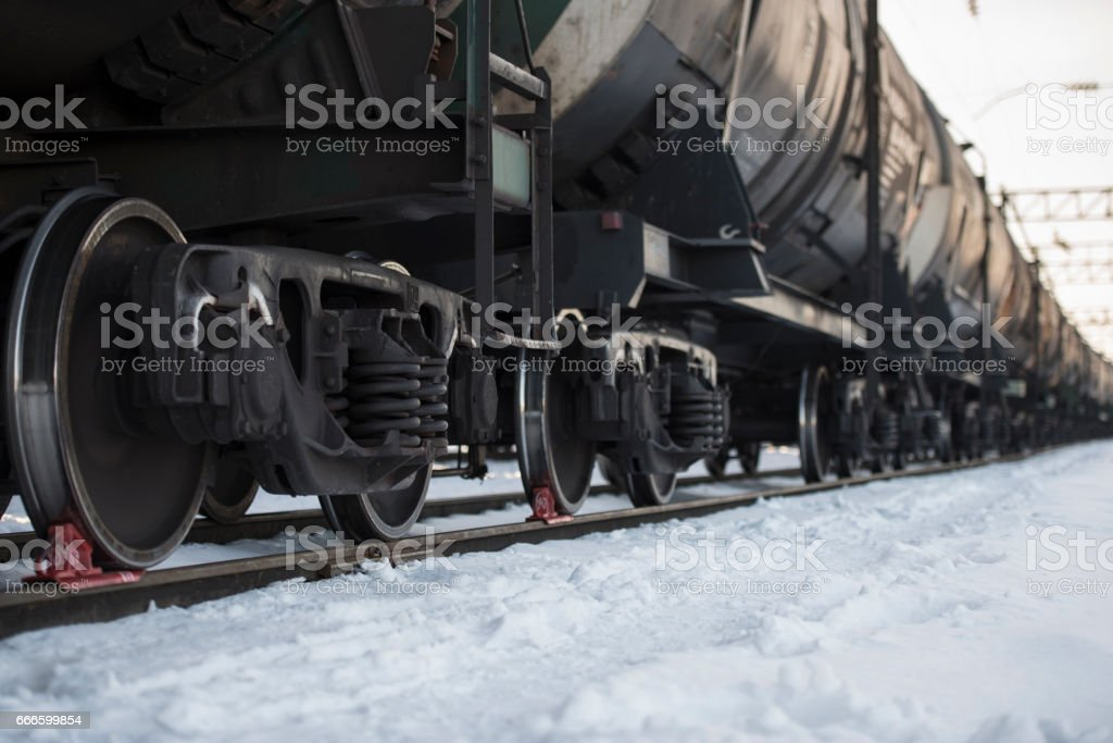 Transportation tank cars with oil in winter. stock photo