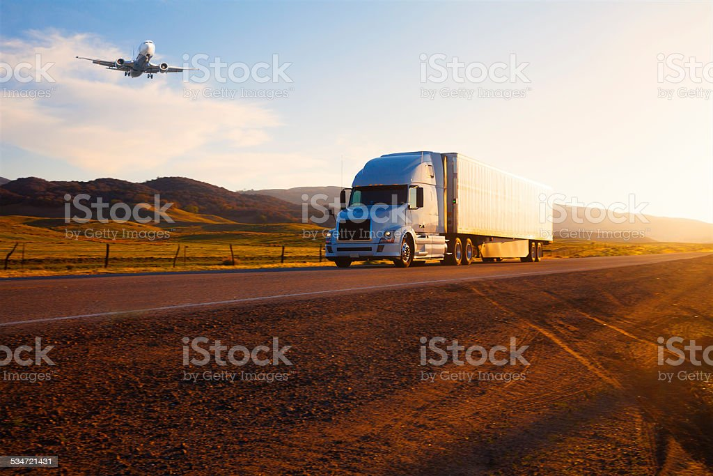 transportation: Truck  and airplane stock photo