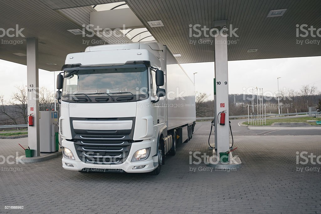 Transportation truck at the gas station stock photo