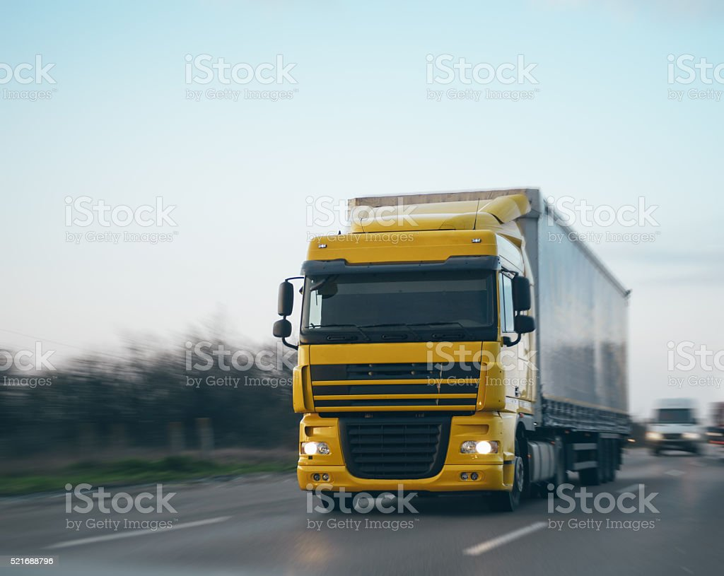Transportation truck driving with speed stock photo