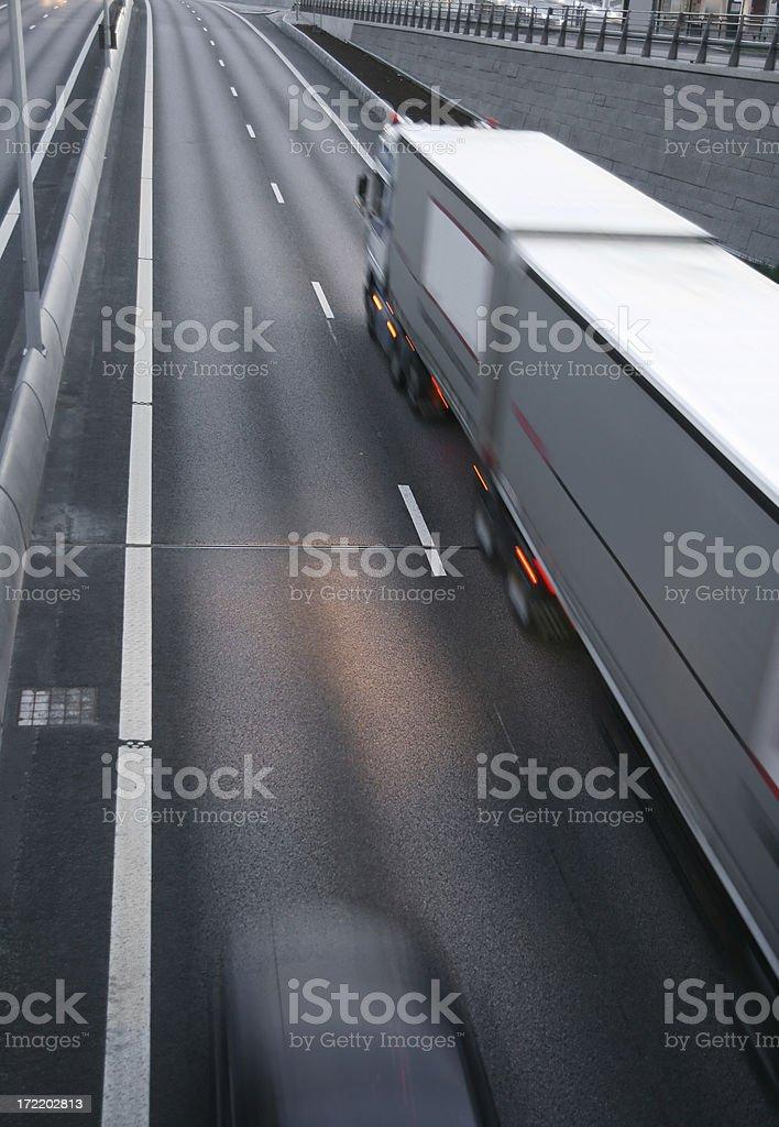 Transportation truck in motion stock photo