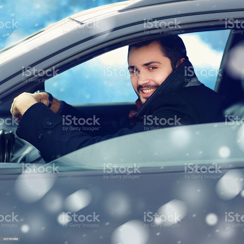 Transportation, winter and people concept - closeup happy smilin stock photo