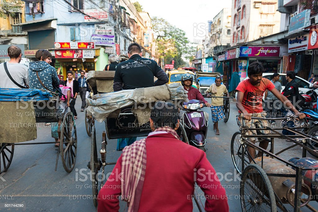 Transportation with rickshaw in Kolkata stock photo