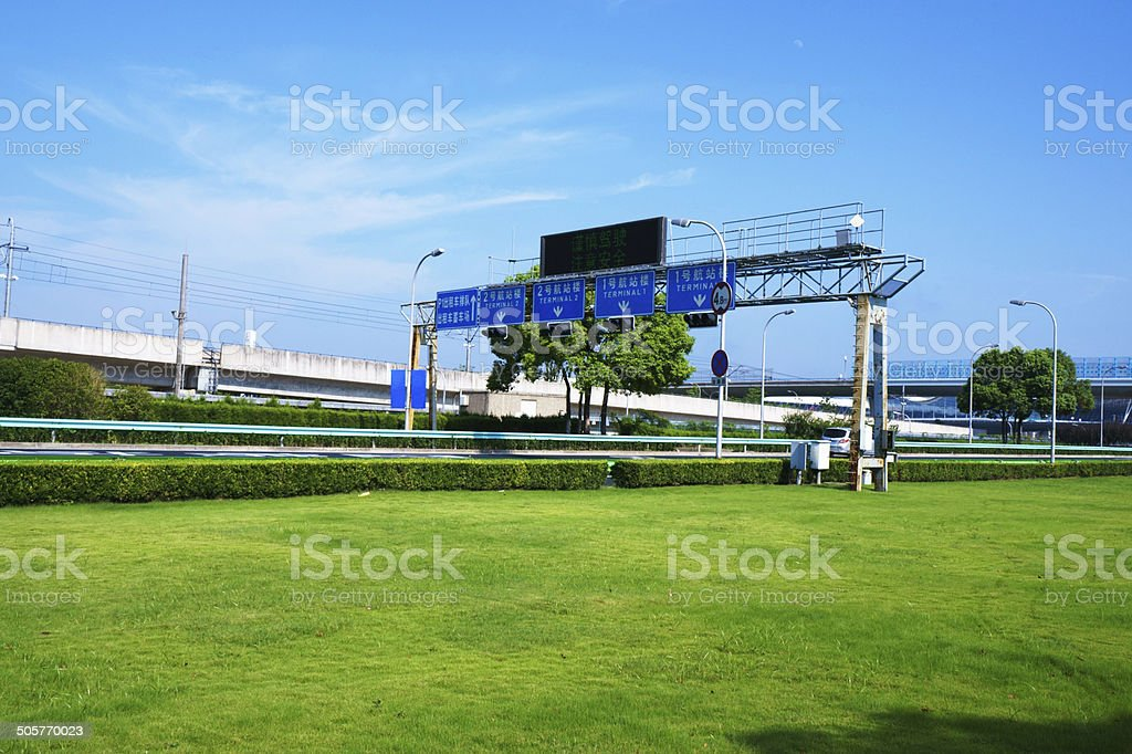 Transportation,Viaduct,lawn, royalty-free stock photo