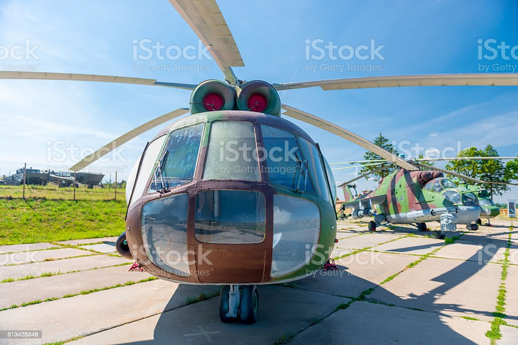 Transport-combat helicopter on parking stock photo