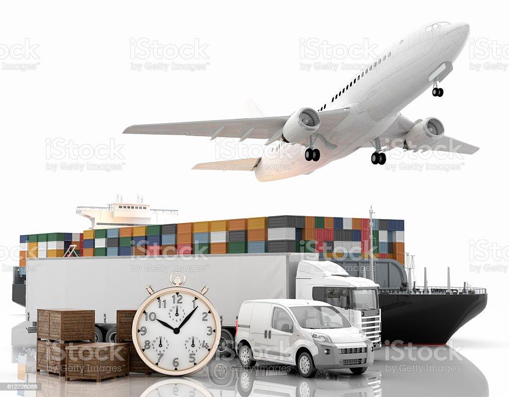 Transporte aéreo, marítimo y terrestre urgente stock photo