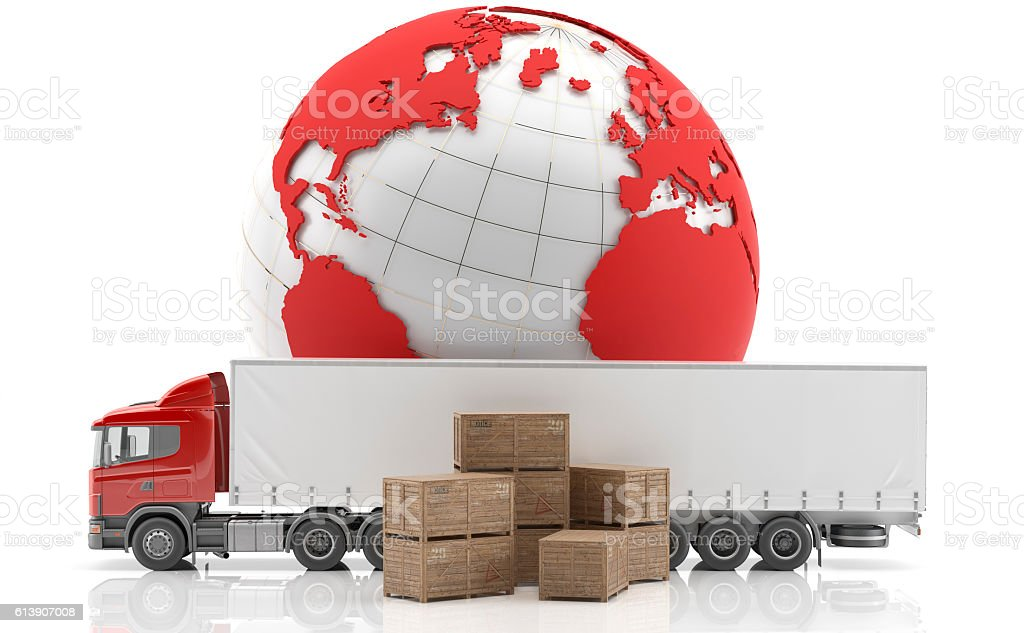 Transporte de mercancías urgentes intercontinental stock photo