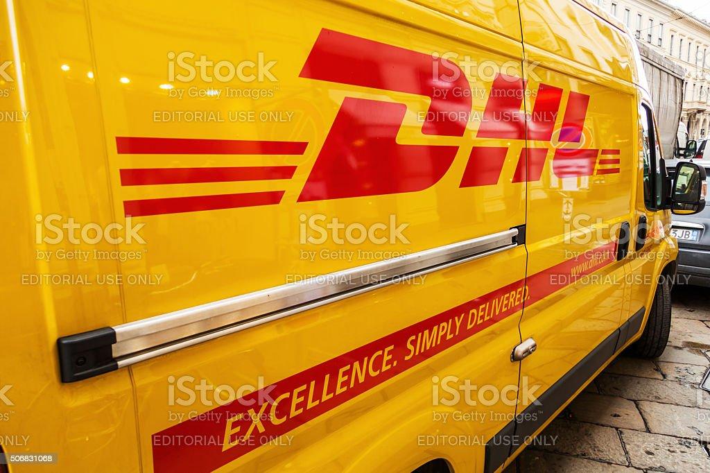 DHL transporter on a street stock photo