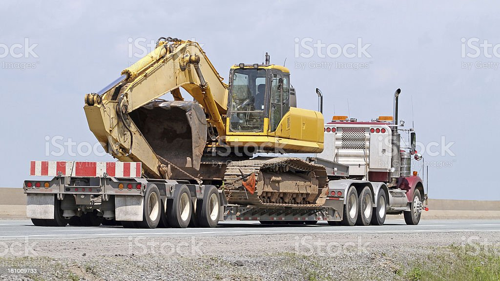 Transporting An Excavator royalty-free stock photo
