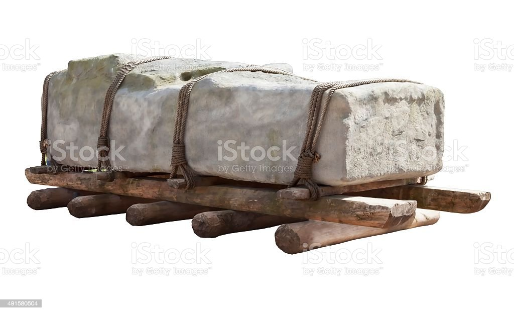Transporting ancient stones stock photo