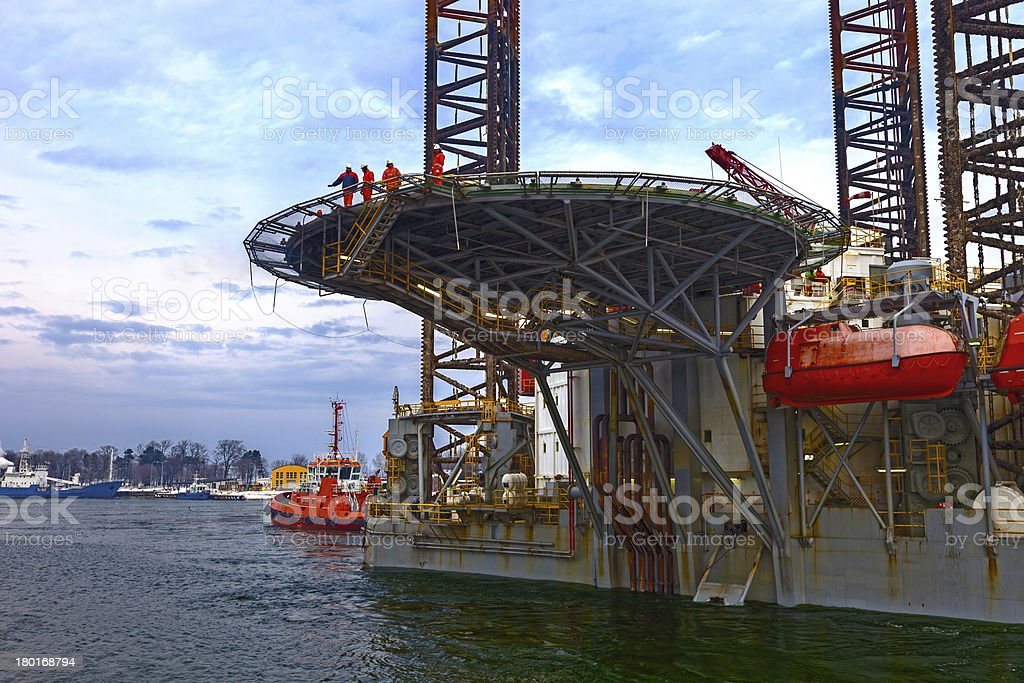 Transporting Oil Rig in port royalty-free stock photo