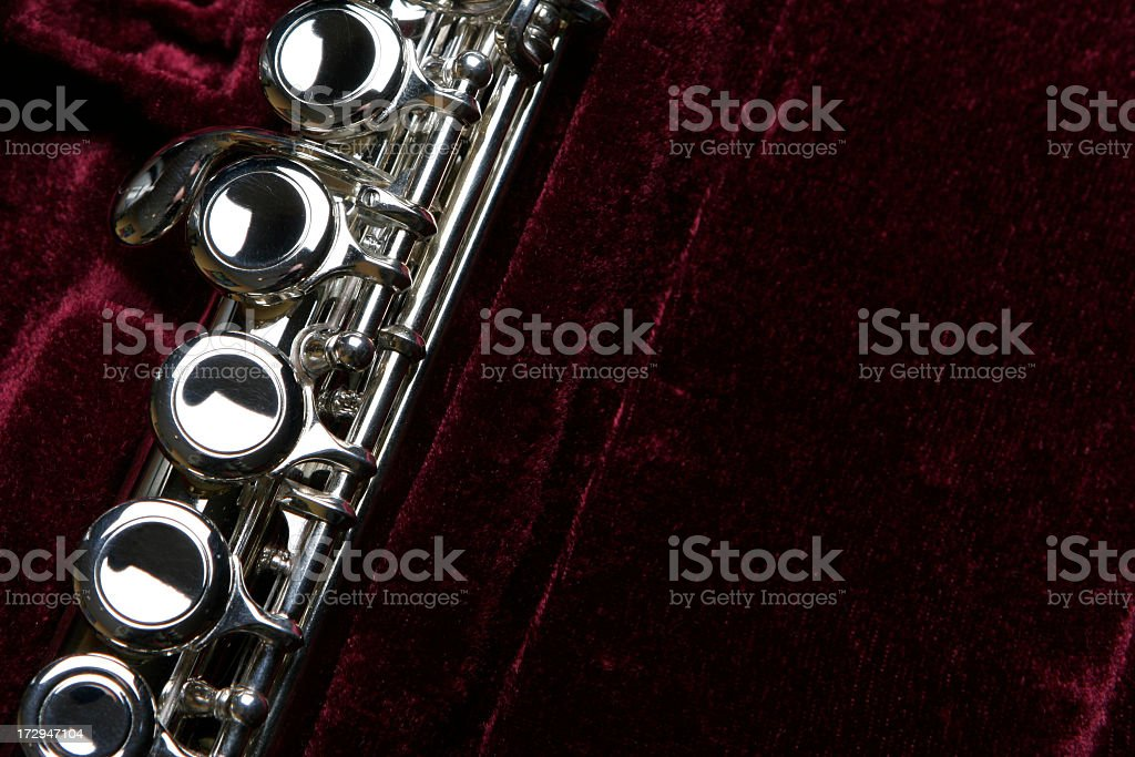 Transverse Flute in its case with purple velvet stock photo