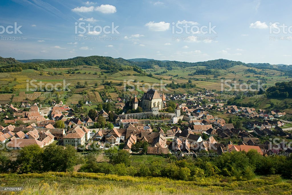 Transylvania village whit an Fortified Burg stock photo