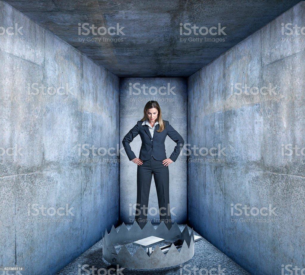Trap Blocks Businesswoman's Path stock photo