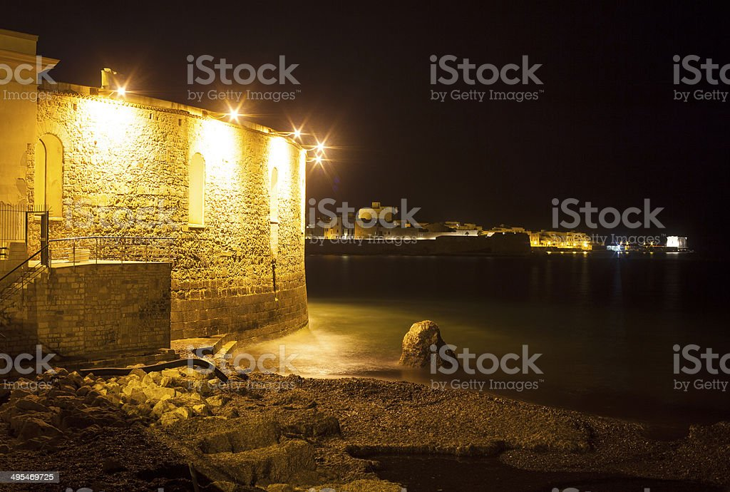 Trapani sea at night stock photo