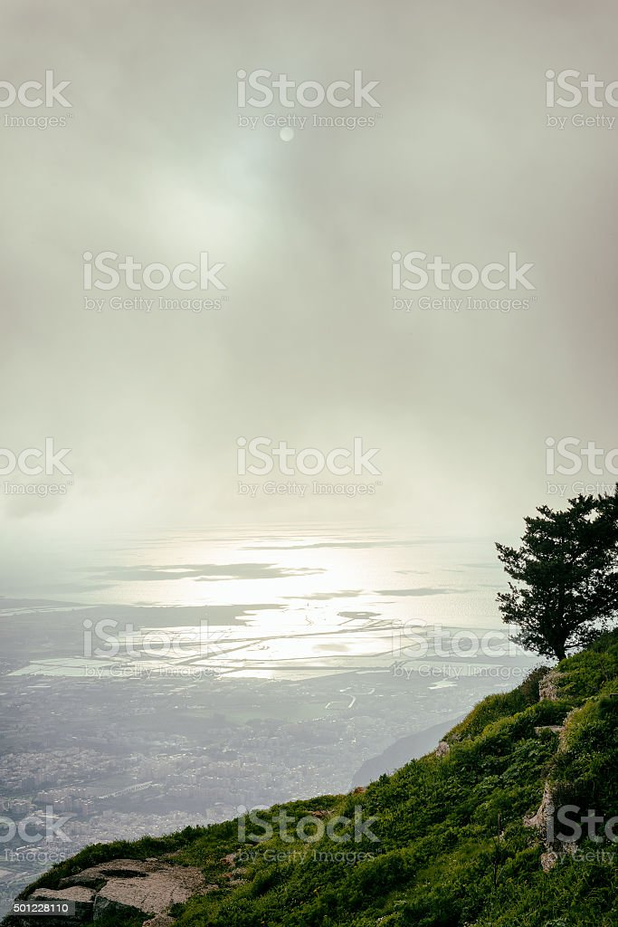 Trapani shot from Erice hill stock photo