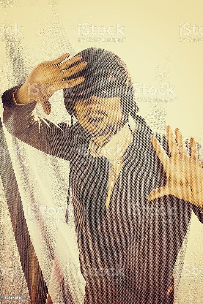 Traped superhero royalty-free stock photo