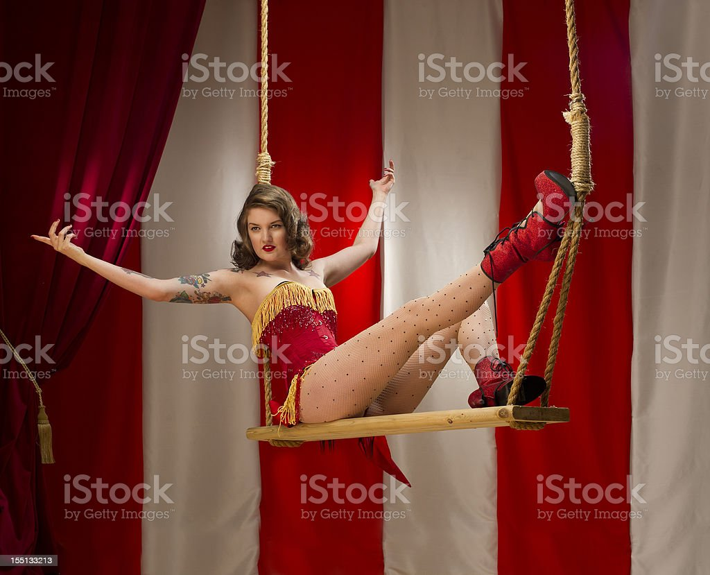 trapeze artist stock photo