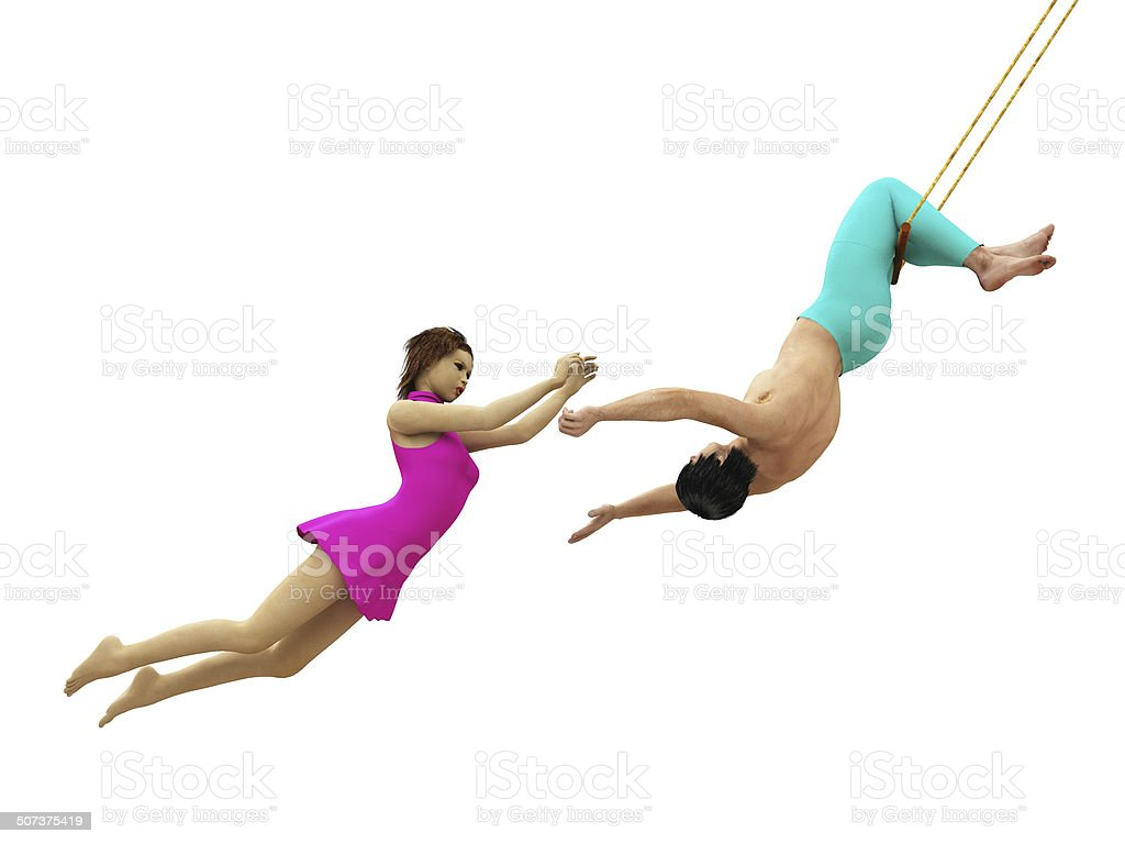 Trapeze artists in flight isolated stock photo
