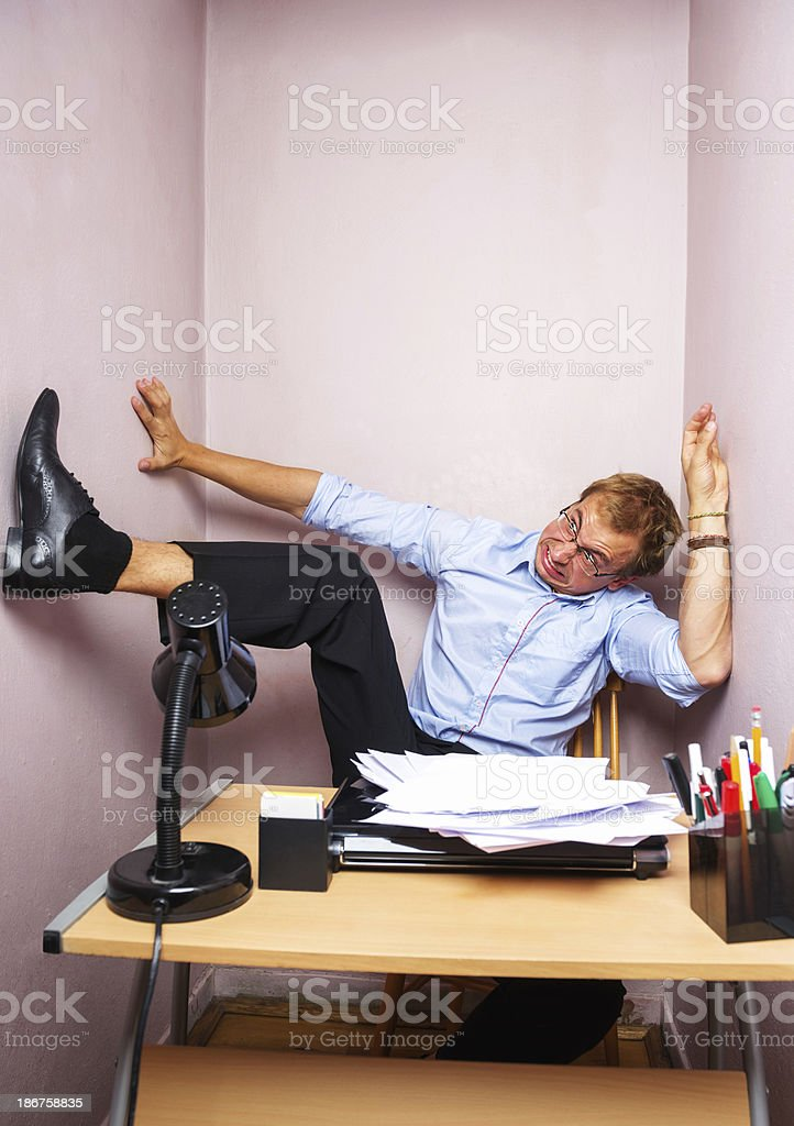 Trapped at work stock photo