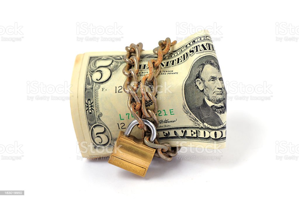 trapped cash stock photo