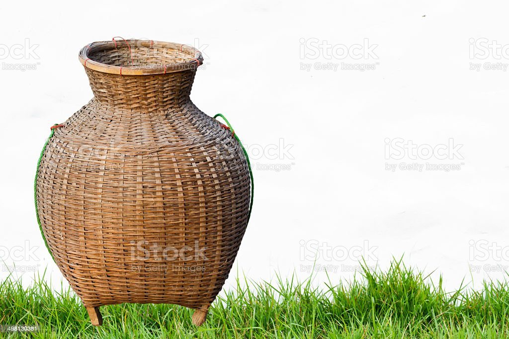 Trapped fish. Made of bamboo. stock photo