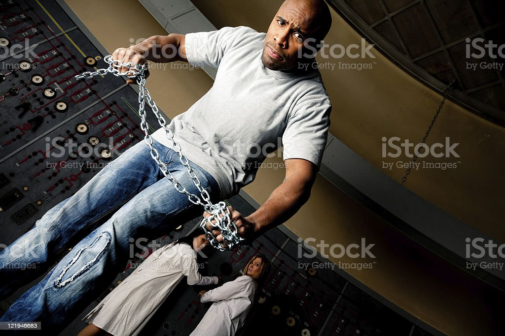 Trapped in a corner stock photo