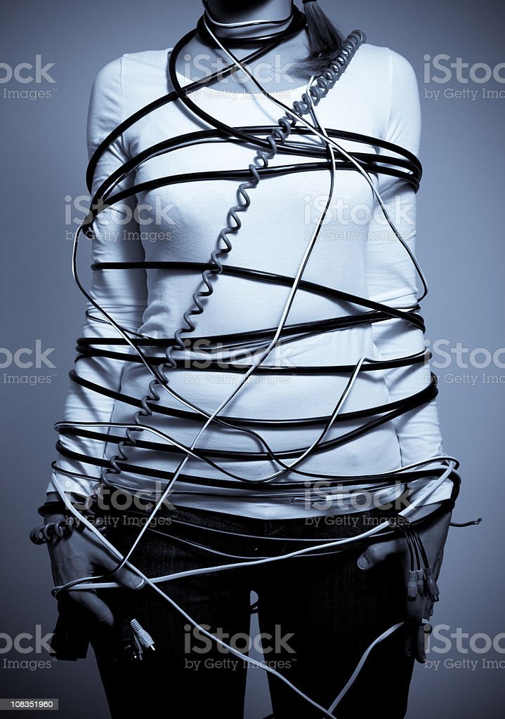 Trapped in cable chaos royalty-free stock photo