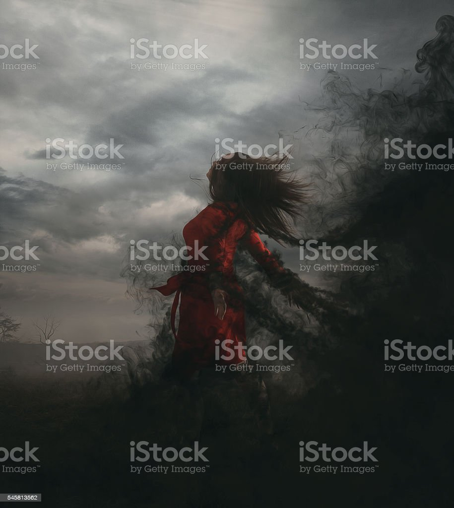 Trapped in darkness stock photo