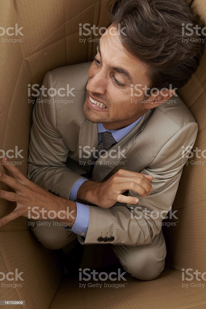 Trapped in his career stock photo