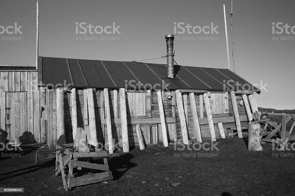 Trapperhütte-Bansebu-Spitzbergen stock photo