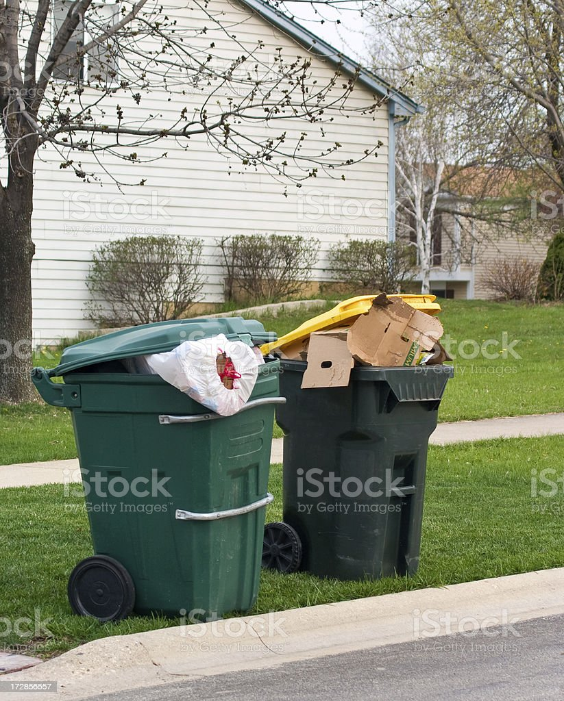 trash and recycle bins royalty-free stock photo