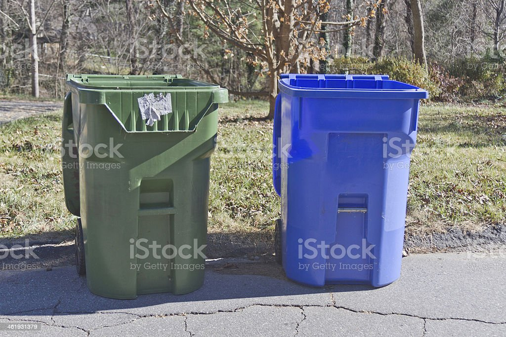 Trash and Recycle Bins stock photo