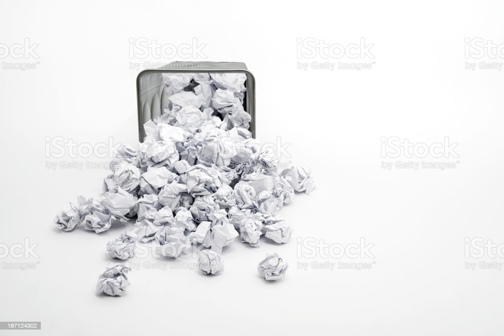 trash basket and papers stock photo