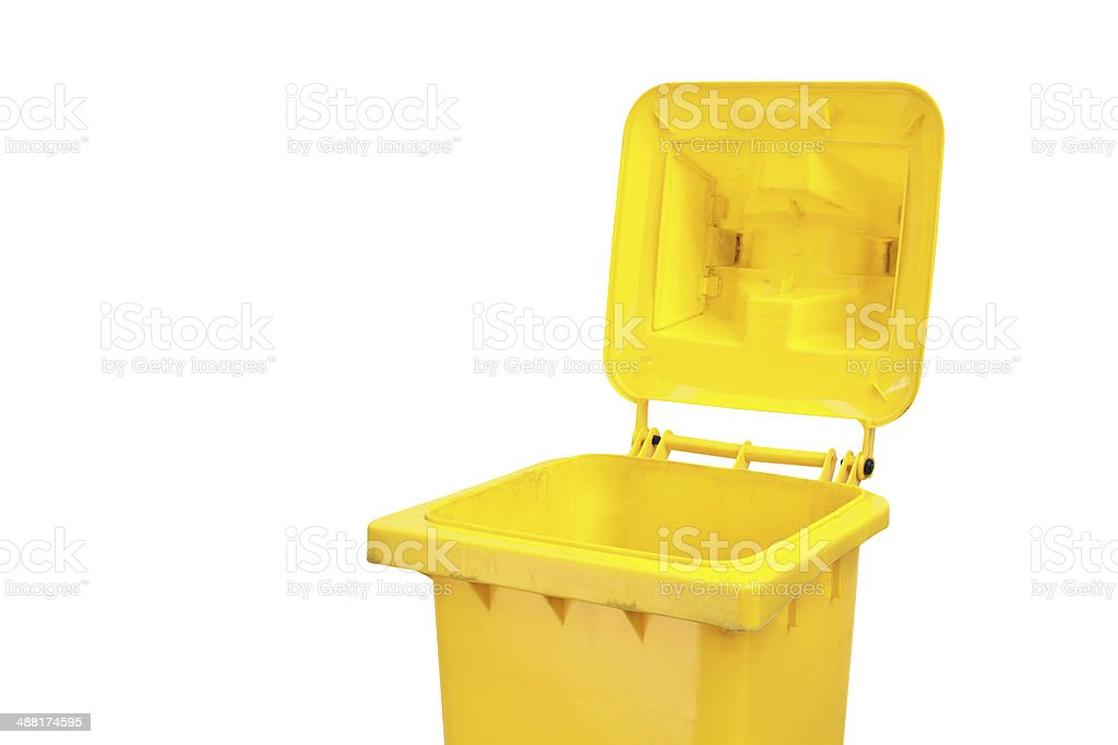 trash bin, isolated on white.Clipping path. stock photo