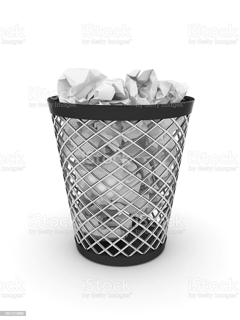 Trash bin with crumpled paper royalty-free stock photo