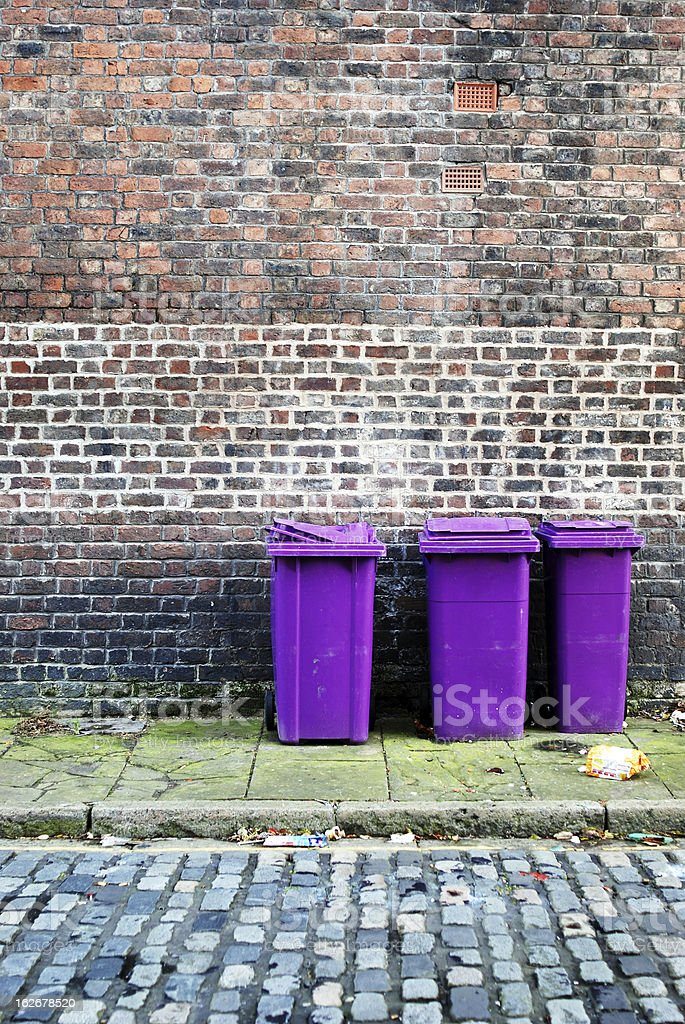 Trash bins in the street royalty-free stock photo