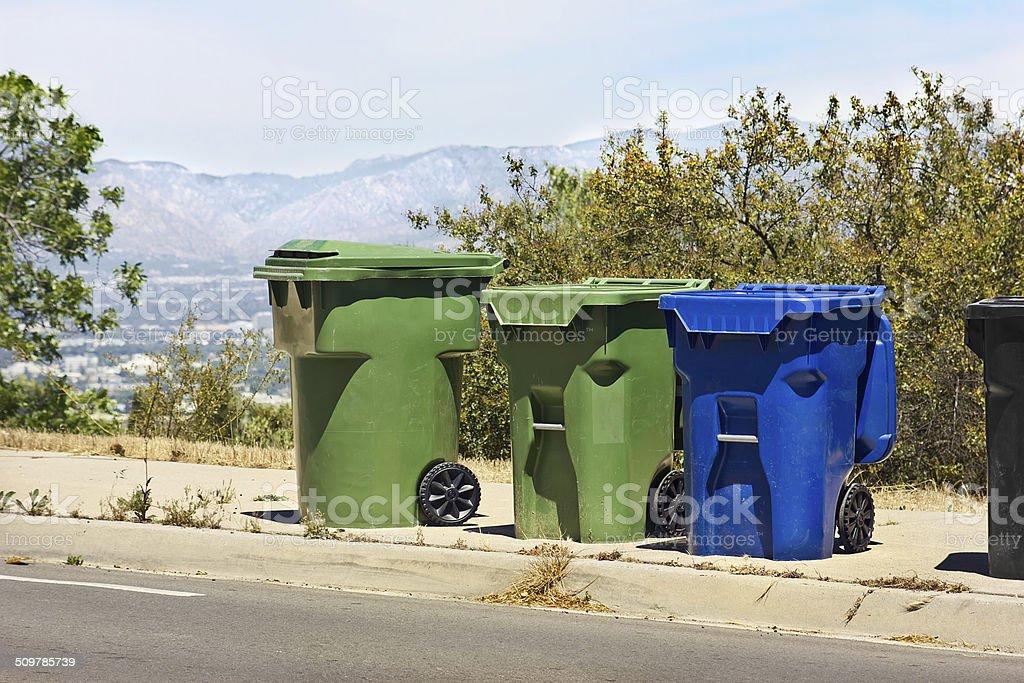 Trash Bins on Hill stock photo